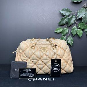 CHANEL • BUBBLE QUILT BOWLER BAG W/ CARD &DUST BAG